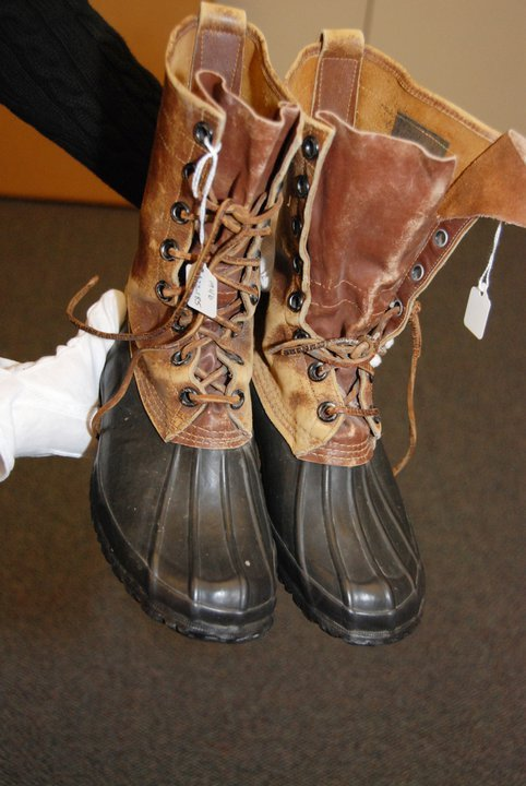 "mostexerent:  An L.L.Bean customer from Wauwatosa, Wisconsin sent us these boots with an illustrious past. In 1946 the parents honeymooned on a little island off the coast of Maine. The mom was outfitted for the trip in head-to-toe L.L.Bean, including these Bean Boots. Over the years, all the kids used to fight over who got to wear the boots while shoveling snow, until they all eventually outgrew them. The family wanted to return these beloved boots back to their place of origin - 64 years later. We loved the boots…and the story so much, that we decided to place them in our company archives to live forever. Thanks so much to the family for sharing this gift with L.L.Bean. *Did you notice the Bean Boot bottoms? Back in the 40's they were made with synthetic rubber since L.L. couldn't get natural rubber during the war. (via Facebook | 1946 ""Honeymoon"" Bean Boots) via nickelcobalt:"