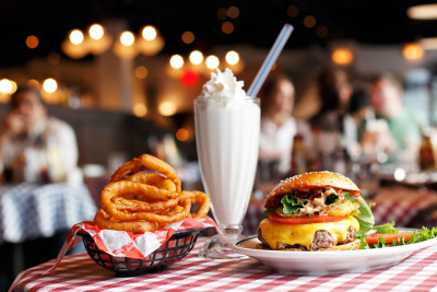 chelebelleslair:  A burger, vanilla shake and onion rings at Bill's Bar & Burger in Rockefeller Center.