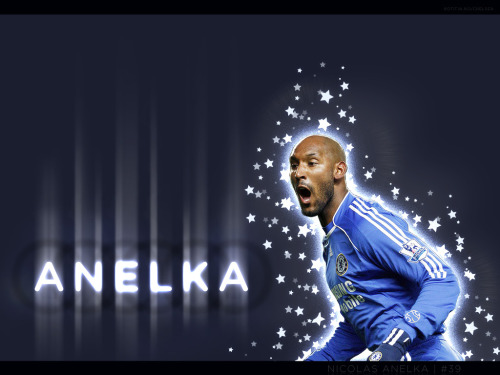 Nicolas Anelka is pictured here wearing the jersey of Chelsea FC. He also appears to have caught a Case of the Sparkles from Edward Cullen. Hope he's not a Muslim vampire…