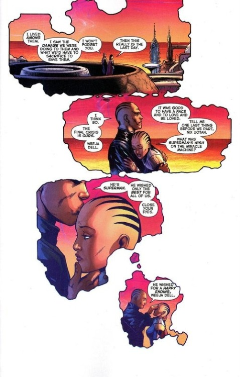 fuckyeahgrantmorrison:  From Final Crisis #7: The end of the Monitors. Or is it…? (Via io9)  Because he's Superman. That's what he does.