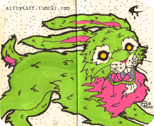 """Radioactive Rabbit"" - Markers on moleskin"