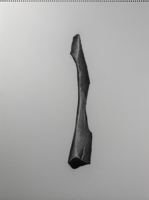 "untitled (basalt shard #2b)2010_02graphite on watercolor paper24"" x 18""Matt Niebuhr"