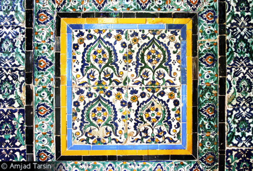 Ahmad Pasha Mosque These are some tiles at the Ahmad Pasha Mosque, which was one of my favorite mosques in all of Tripoli. It is an older mosque built by a Turkish pasha. The mosque is found at the entrance of the Old City. The designs all around the mosque are beautiful, and praying there at night was very enjoyable (I particularly miss the melodic recitation of the Qur'an and the dhikr at the end of each prayer!).  |This photograph is dedicated to a lover of art and beauty, Ali Hussain|