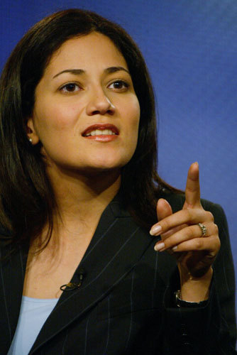 Mishal Husain is seen here interjecting a point about Muslim grab.