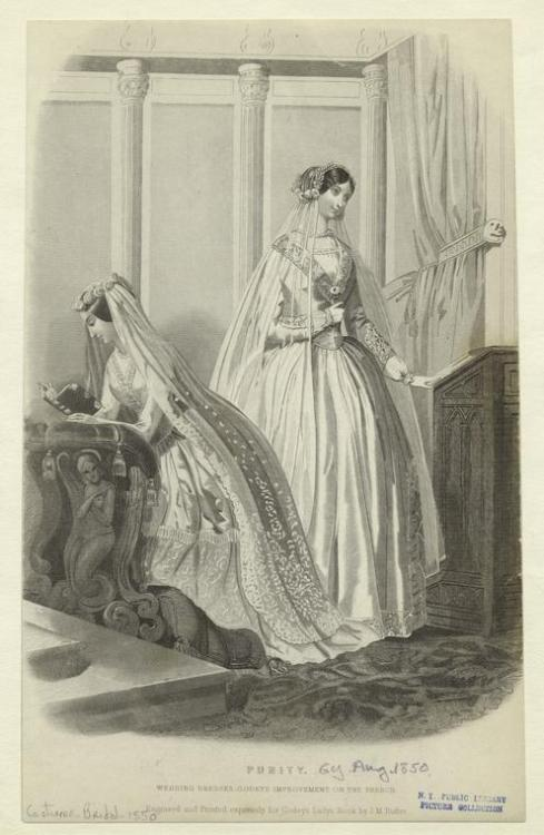 "happygolovely:  ""Purity : Wedding dresses, Godey's improvement on the French."" Originally published in Godey's Lady's Book, Nov. 1850. Courtesy the NYPL."
