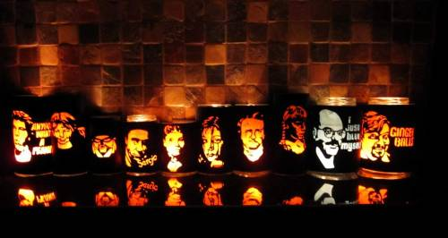 "All ten lanterns that I cut for Halloween 2010.  You can see them all individually in the Flickr set. Up next?  Another set of xl stencils for the front of our house.  Here's the set that I made last year.  This year I think I'm going to make all ""Young Frankenstein"" stencils."