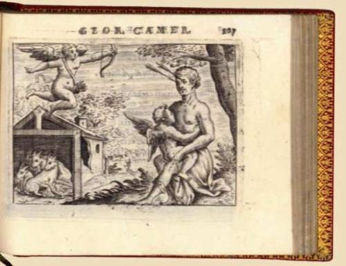 "Emblemata Amatoria.:  75 Odes to Love Camerarius, G. Venice, P.P. Tozzi, (1627). Oblong 24mo. 19th-century red morocco, spine ribbed and gilt, with gilt triple fillet borders on sides  First and only edition of a very beautiful emblembook, inspired on the love-emblems by Crispyn de Passe, from his ""Tronus Cupidinis"" and his ""Fons Amoris"". In his foreword the author explains that he wants the Italians also to enjoy the beautiful love-emblems from the books of Heinsius and Otto Vaenius, but the poems, he assures his readers, are all by his own hand. The first emblem is an armorial one on the family of Dominico Molina,  his maecenas, to whom Camerarius also dedicated the book. The last four emblems are on the death-tombs of the King of France, the Bishop of Ferrara, a friend, and his father. So there are 75 love-emblems, all beautifully  designed and engraved, with accompanying verse on the  opposite page. The colophon on recto of last blank leaf reads: ""Venetiis, 1627. Ex Typographia Sarcinea."" An Italian translation was made by Allessandro Adimari, but was only published some centuries later, in 1898."