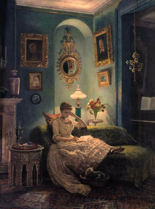 """Evening at home"" (Edward John Poynter, UK, 1836-1919)"
