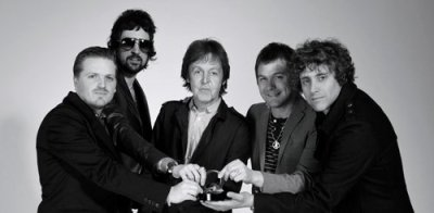 trimm-trabb:   Sir Paul McCartney & Kasabian on the same pic. Now I can die.  It's October in London and he's wearing sunglasses. Not one fuck is given by Serge, he has pimp cred. to keep up.