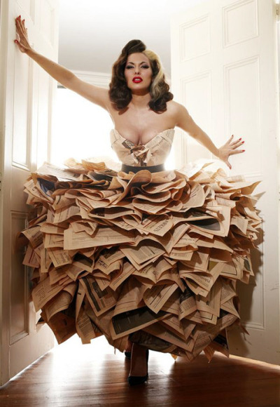 societycottontail:  newspaper dress = amazing.  Today's trashion inspiration.