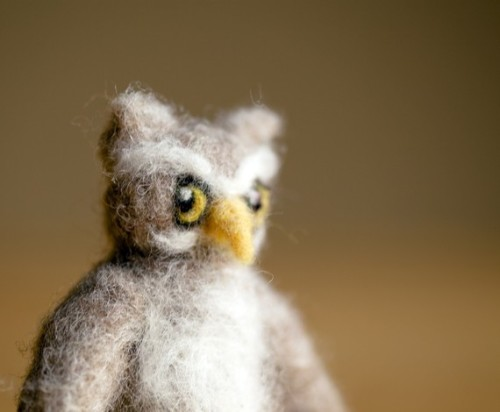 mister great horned owl. needle felted with Canadian wool, handcrafted with love.