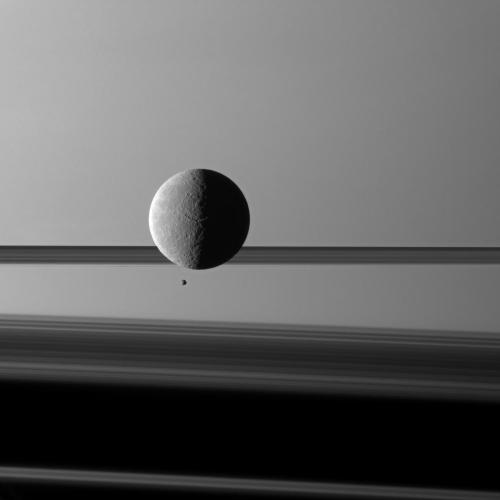 Rhea and Epimetheus Credit: NASA/JPL/Space Science Institute