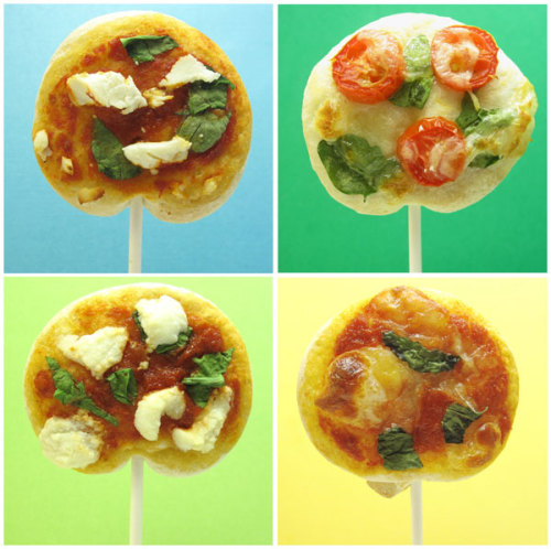"thedailywhat:  Kickass Comestible of the Day: ""Pizza Pops"" from food decorator Meaghan @ The Decorated Cookie. Make your own! [doobybrain.] Related: Cake on a stick.   I'll take twelve please…"