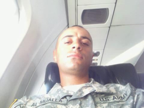 This is Ramez Al Mualla. He's a Muslim proudly serving in the US Army. He's dressed in garb… and he's on an airplane.