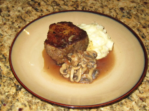 Filet Mignon, Olive Oil Smashed Potato, Sauted Mushrooms, Steak Jus iburntrees.tumblr