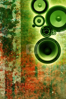 Grungy, green, speakers by Christophe Roland  #cutcaster #grunge