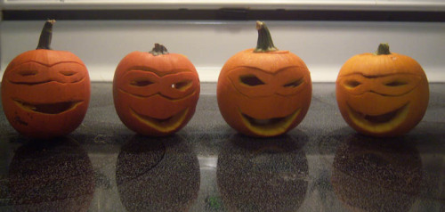 Teenage Mutant Ninja Pumpkins! :) I carved these for The Boy last night.