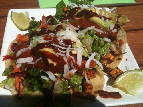 Tofu asada tacos @ Trippy Taco on Smith St, Collingwood.  Amazing, vegetarian, spicy AND cheap!