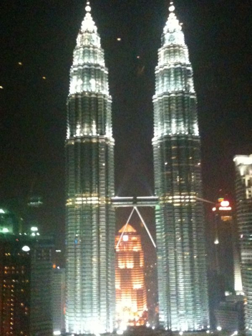The night version of the Petronas Twin Towers in Kuala Lumpur, Malaysia