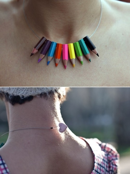 Not sure what to do with left over short pencils? Clever necklace idea!