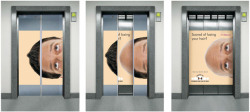 Elevator advertisement for hair loss prevention.