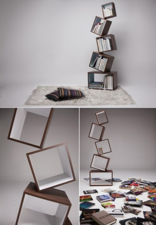 "thedailywhat:  Badass Bookcase of the Day: ""Equilibrium Bookcase"" from Malagana Design. What manner of witchcraft is this?! [fubiz.]"