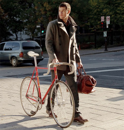 bag clearly indicates homeboy isnt a cyclist