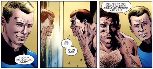 "[pt 1] Today's issue of Fantastic Four by Jonathan Hickman and Steve Epting was full of really, really great moments. This is the second issue in the 4 part story, ""3"" where one of Marvel's first family will die. First great moment was after Ben (The Thing) takes a formula that will transform him back to his human self for a week. He's obviously emotional when he looks in the mirror, but I mean, Johnny's hair. Johnny's been watching a lotta Mad Men and it's awwwwwesome."