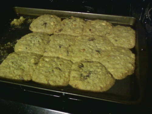 Ooopsie! GIANT COOKIE. Oatmeal white chocolate cranberry. I bought steel cut oats on accident. They do different things. I think it tastes good, but it's a very different texture. Picture taken from my phone because my silly camera is not working