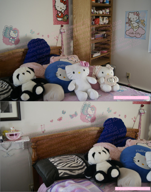 "This is just a little part of my bedroom, I call it the ""Kitty Corner"" ( : Cute little nickname, right? That happens to be my Hello Kitty based bed and you can see all the other HK items! : D ~ xoxo, Sierra Christina"