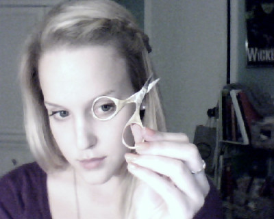 Tiny scissors are the key to paper art. And also monocles.  GPOYW v.022, late night birthday-card-making edition. Goodnight. See you in the morning four-day weekend! :D