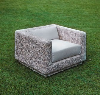 this chair is made from pebbles. mind = blown.