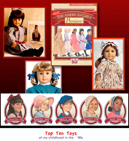 American Girls, pre-Mattel taking over the Pleasant Company in 1998 :( I grew up with these 5 girls in my life.  Now, 3 of them have been retired and the Barbie company is running the Pleasant Company.  I don't know what to make of life anymore. haha