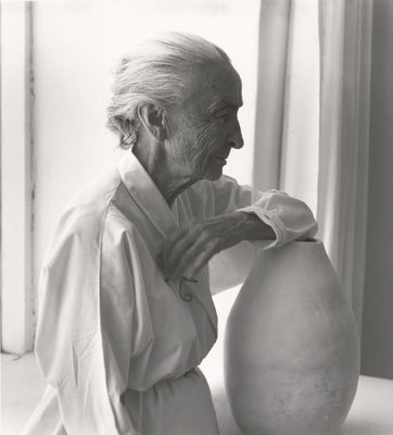 "Laura Gilpin (U.S., 1891-1979)Georgia O'Keeffe with Juan Hamilton Pot, 1953 Gelatin silver print 8 1/4""x7 3/8"" Fred Jones Jr. Museum of Art, The University of Oklahoma, Norman Gift of Carol Beesley Hennagin, 2009"