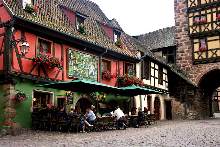 | ♕ |  Romantic cafe in Riquewihr, Alsace  | by © Foto Martien | via ysvoice