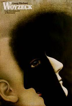 designer: Rosocha Wieslaw poster title: Woyzeck year of poster: 1992 poster nationality: Polish print technique: offset size in cm: 97,5x67,5    inches: 39.2 x 27.2 subject: theatrical playwright: Buchner George
