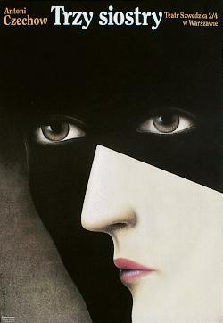 designer: Rosocha Wieslaw poster title: Trzy siostry year of poster: 1993 poster nationality: Polish print technique: offset size in cm: 97,5x67    inches: 39.2 x 26.8 subject: theatrical playwright: Czechow Antoni