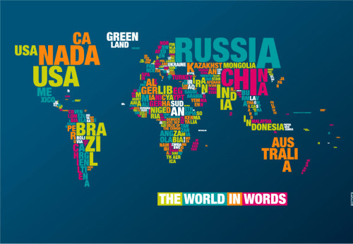 "thedailywhat:  Typographic Cartography of the Day: ""World Typomap"" by German graphic designer Dirk Schächter. Desktop wallpaper and print purchase info available here. [dyt.]"