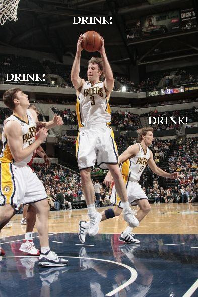 "nbaoffseason:  NBA OFF-SEASON PREVIEW: INDIANA PACERS ""Bartender, pour me another"" BLOGHEADS: We give you our final team preview – saving not the best, but the most painfully entertaining, for last. To celebrate that fact, KC & I decided that if we were to write a season preview on the Indiana Pacers, we must, of course, do so while intoxicated.  And if we expected any of you to actually read this, you must likewise be on our level.  So since we're now prepared to drink, let's make a game of it!  Settle in for a long'un.  Ladies and gents, without further adieu … our Indiana Pacers Drinking Game. The rules are simple: grab a bottle or two (honestly?  you may need more than two) of your favorite drink. Whenever any of the following is mentioned in this article …  This should make my Halloween weekend extra-extra saucy."