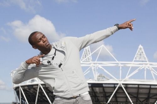 fuckyeahathletes:  Olympic gold medallist Usain Bolt visits the Olympic Park and sees the Olympic Stadium where he hopes to be competing in 2012. (1st Sept 2010)
