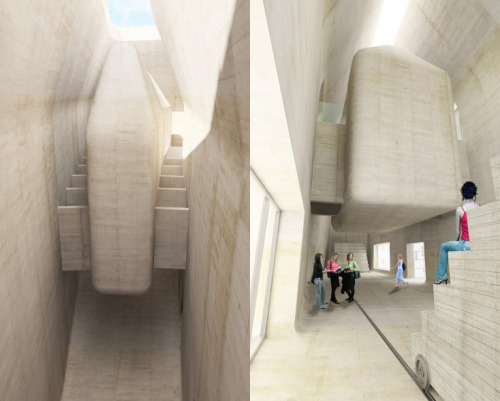"The ""house within a museum"" concept of the floating galleries in Šépka Architects Central European forum proposal."