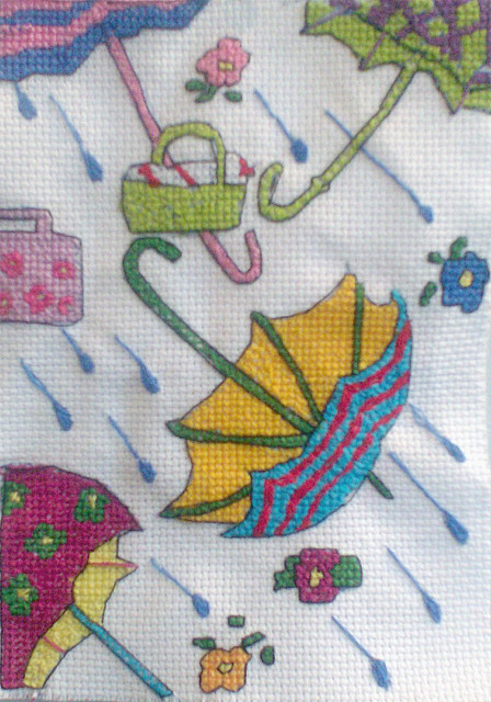 """Raindrops Keep Falling On My Head"" Hand Drawn Original Cross Stitch (by dsqmary)"