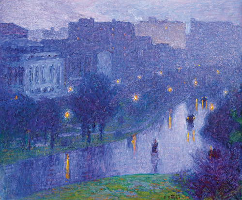 missfolly:  Night Scene–New York City (Night) by Edward Potthast, ca. 1912