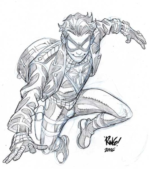 spoonr:  Mike Wieringo's Spiderboy AMALGAM UNIVERSE! MUST FIND BOOKS!!!  STATION IDENT: My name is mike, I think I've been accidentally becoming Spider-Boy over the past year or so. Anyone know where to get Spider-Man gloves?