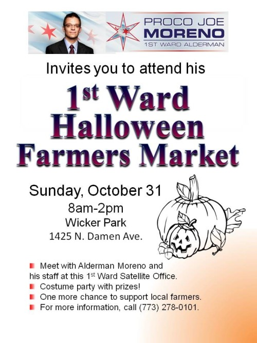 I'm organizing a Halloween Farmers Market @ Wicker Park, this Sunday. Come dressed, bring your kids, it'll be fun. Prizes for best costume will be announced around noon.