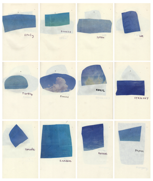 ricochet:  Joseph Pielichaty's Blue Skies, a collection of sky photos clipped from the travel section. A portable vacation. (via Where the Lovely Things Are)