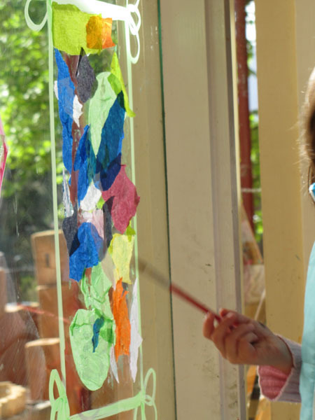 letthechildrenplay:  Irresistible Ideas for play based learning stained glass windows with tissue paper (idea for using vaseline instead of glue in comments)