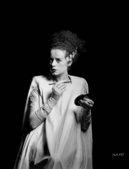 "Elsa Lanchester on the set of Bride of Frankenstein (1935, dir. James Whale) (photo by Universal Studios/Getty Images) ""The swans in Regents Park in London inspired me in my performance. They're really very nasty creatures, always hissing at you. So I used the memory of that hiss. The soundmen ran some of my hisses and screams backwards to add to the strangeness. I spent so much time screaming that I lost my voice and couldn't speak for days."""