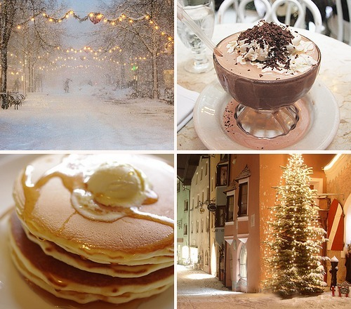 lindsayhuffman:  Snow + Pancakes + hot chocolate + Christmas lights/trees/decor. I can't wait for winter to arrive.