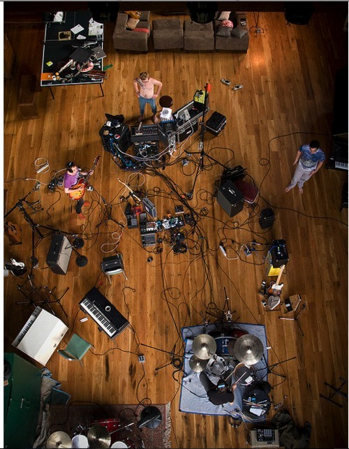 "vanillaskynet:  grizzly bear working   during the recording of ""Veckatimest"" photo: Amelia Bauer"